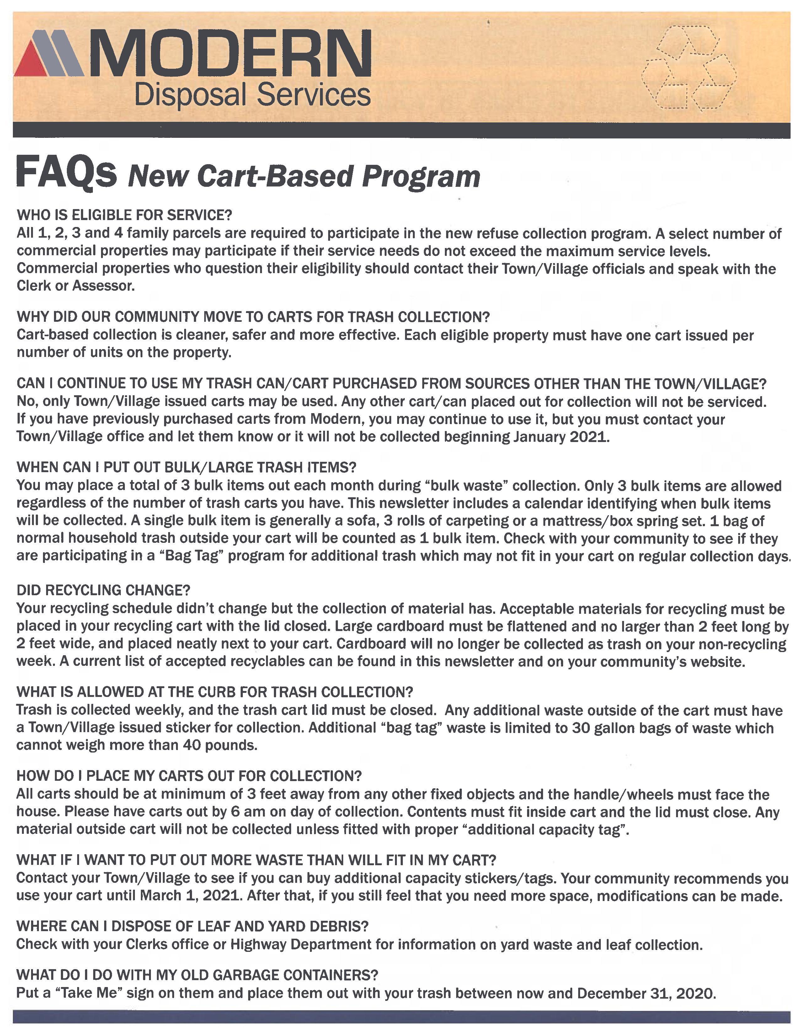 FAQ's New Cart Based Program